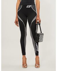 Off-White c/o Virgil Abloh Athletic Graphic-logo Stretch-jersey leggings - Black