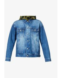 A Bathing Ape 1st Relaxed-fit Faded Denim And Cotton-jersey Jacket - Blue