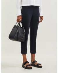 Theory - Tapered High-rise Crepe Pants - Lyst