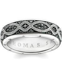 Thomas Sabo - Rebel At Heart Black Pavé Zirconia Promise Ring - Lyst