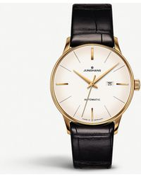 Junghans 027/7845.00 Meister Damen Gold-plated And Leather Watch - Black