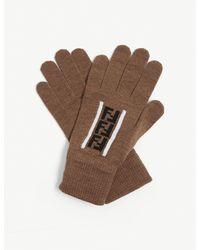 Fendi Ff Logo Wool Gloves - Brown