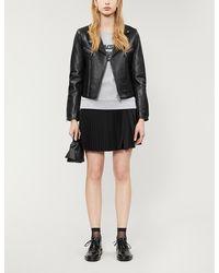 Claudie Pierlot Carissae Leather Biker Jacket - Black