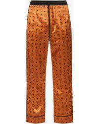 MCM Brand-print Relaxed-fit Stretch-silk Pyjama Bottoms - Brown