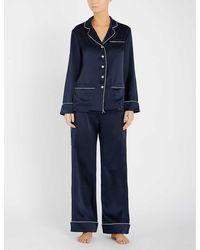 Olivia Von Halle Coco Silk-satin Pyjama Set - Blue