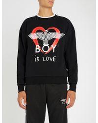 BOY London - Boy Is Love Cotton-jersey Sweatshirt - Lyst