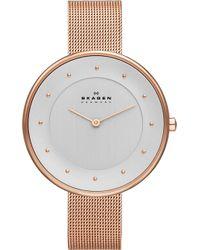 Skagen - Skw2142 Gitte Rose Gold-toned Stainless Steel Bracelet - Lyst