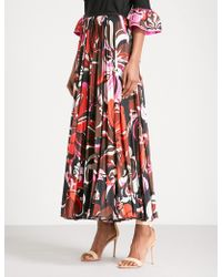 Emilio Pucci - Signature-print High-rise Satin Midi Skirt - Lyst