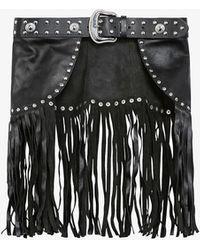 The Kooples Fringed Leather Belt - Black