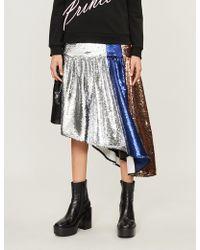 Fyodor Golan - Colour-blocked Asymmetric Sequinned Skirt - Lyst
