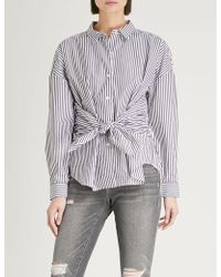 FRAME - Tie-front Striped Cotton Shirt - Lyst
