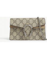 a33b2677be33 Gucci Super Mini Dionysus Leather Shoulder Bag in Green - Lyst