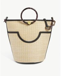 Ted Baker Amayi Leather-trimmed Straw Bucket Bag - Black