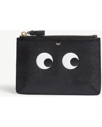 Anya Hindmarch Eyes Small Embossed Textured Leather Pouch - Black