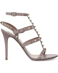 Valentino - Women's Nude Rockstud Studded Leather Sandals - Lyst