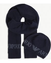 Emporio Armani - Logo Knitted Hat And Scarf Set - Lyst