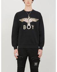BOY London Graphic-print Cotton-jersey Sweatshirt - Black