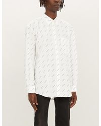 Balenciaga Logo-print Regular-fit Cotton-poplin Shirt - White