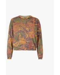 Beyond Retro Pre-loved Metallic Abstract Knitted Cardigan - Multicolour