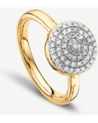 Monica Vinader - Fiji Gold And Diamond Large Button Stacking Ring - Lyst