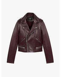 Maje Basalti Leather Biker Jacket - Multicolor