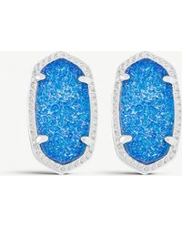 Kendra Scott - Ellie Silver-plated Cobalt Drusy Stud Earrings - Lyst