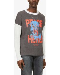 Siberia Hills Peace Is Here Graphic-print Cotton-jersey Top - Grey