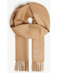 Max Mara Clara Camel Wool Scarf - Natural