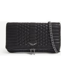 Zadig & Voltaire Noir Black Rock Quilted Leather Clutch Bag