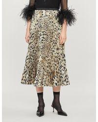 Prada Leopard-print Pleated Crepe Midi Skirt - Multicolor