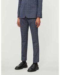 Ted Baker Debonair Checked Wool Suit Pants - Blue