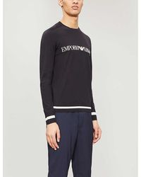 Emporio Armani Knitted Embroidered Logo Sweater - Blue