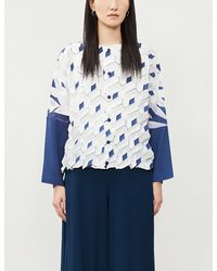Issey Miyake Geometric-print Woven Top - Blue