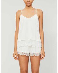 Eberjey Carmela Cotton-blend Jersey Pyjama Top - White