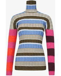 Colville Striped Turtleneck Wool-blend Jumper - Blue