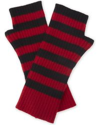 Zadig & Voltaire Diana Striped Cashmere Mittens - Red