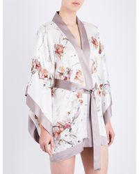 Meng Floral-print Silk-satin Kimono Robe - Black