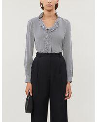 Claudie Pierlot Bella Striped Loose-fit Silk-crepe Shirt - Black