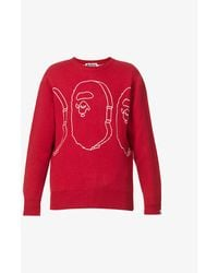 A Bathing Ape Ape Heads Oversized Knitted Jumper - Pink