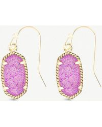 Kendra Scott - Lee 14ct Gold-plated And Violet Drusy Stone Earrings - Lyst