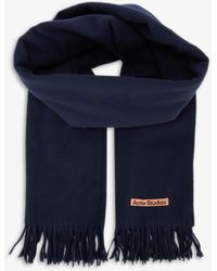 Acne Studios Canada New Logo-embroidered Wool Scarf - Blue