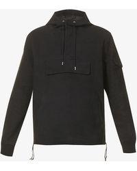 DEADWOOD Anchor Drawstring-hem Recycled-suede Hooded Jacket - Black
