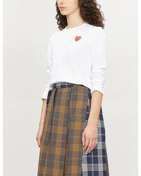 COMME DES GARÇONS PLAY Heart-appliqué Cotton-jersey Top - White