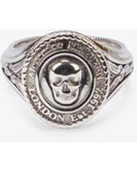Alexander McQueen Medallion Skull-engraved Silver-toned Brass Ring - Metallic