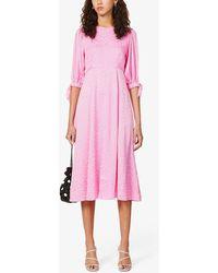 Kitri Lorelle Floral-jacquard Woven Midi Dress - Pink