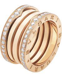 BVLGARI - B.zero1 Four-band 18kt Pink-gold And Diamond Ring - Lyst