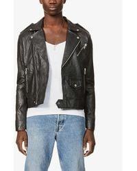 DEADWOOD Pin-back Collar Recycled-leather Biker Jacket - Black