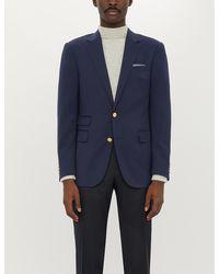 Ralph Lauren Purple Label Brand-embossed Regular-fit Wool Blazer - Blue