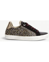 Zadig & Voltaire Ao Studded Leather Trainers - Black
