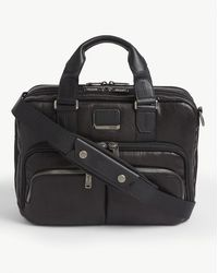 Tumi Albany Commuter Leather And Fabric Brief Bag - Black